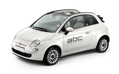 Fiat 500 by ABC Rent A Car Corfu Airport.