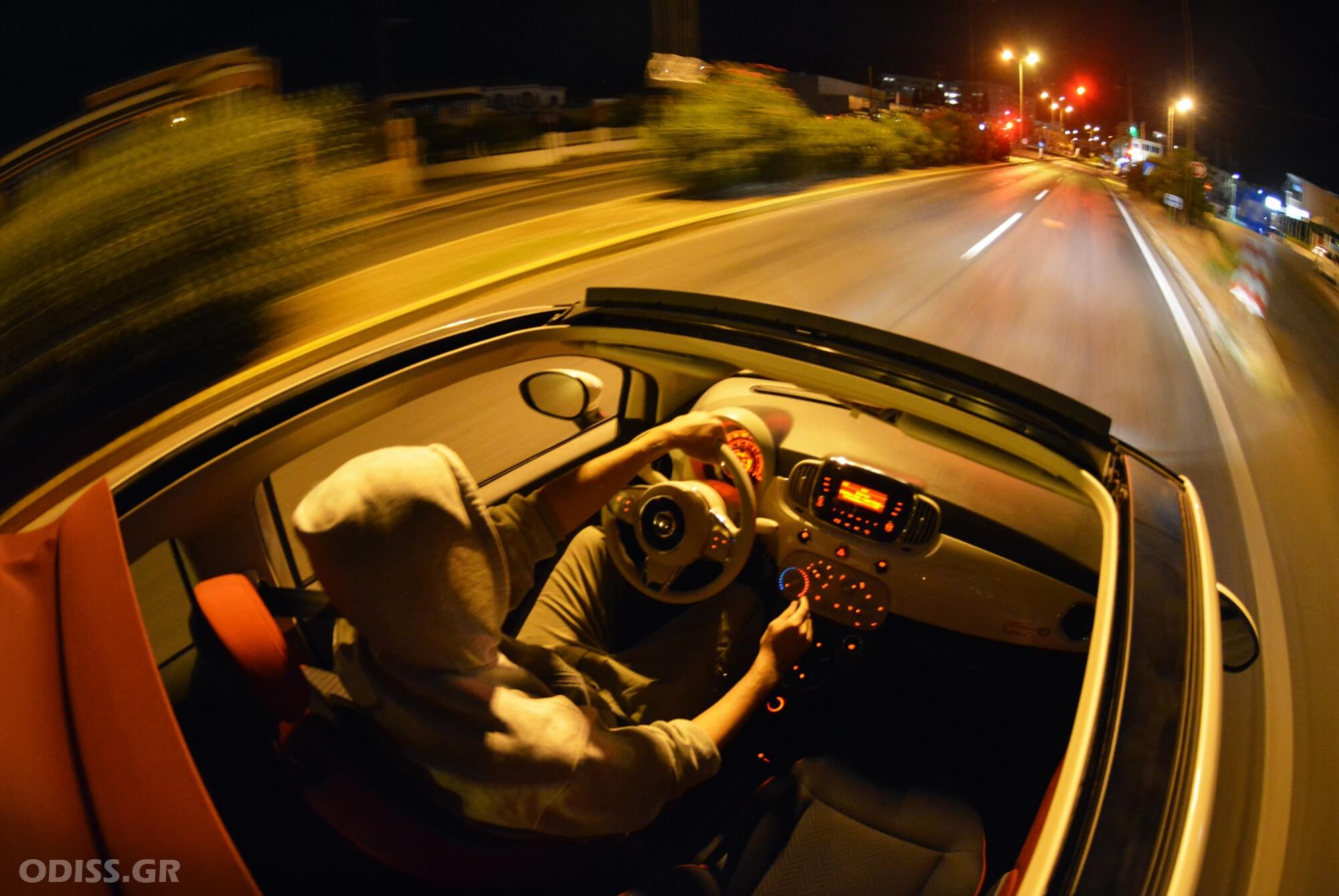 Night driving in Corfu with Fiat 500 convertible by ABC Rent A Car.