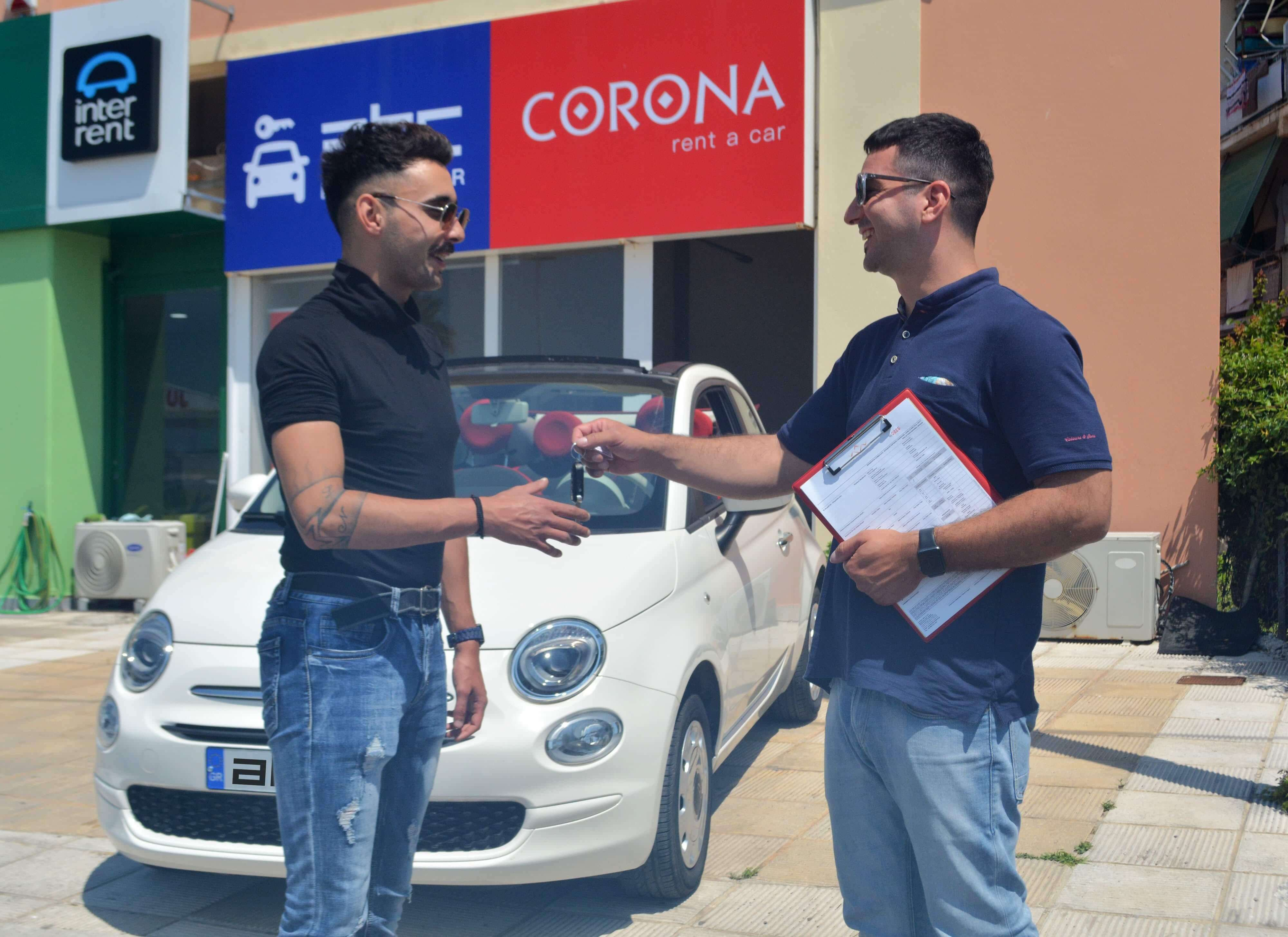 Handing the keys of your rental car outside ABC Rent A Car office next to Corfu Airport.